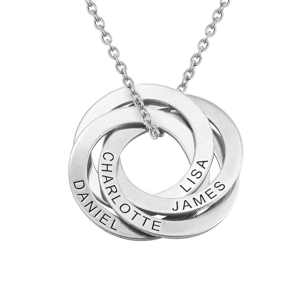 Collar de anillo ruso con cuatro anillos en plata 925