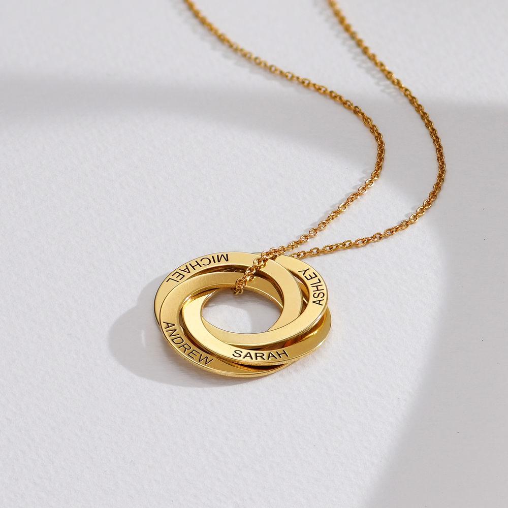Collar de anillo ruso con cuarto anillos en plata 925 chapado en oro 18k - 1