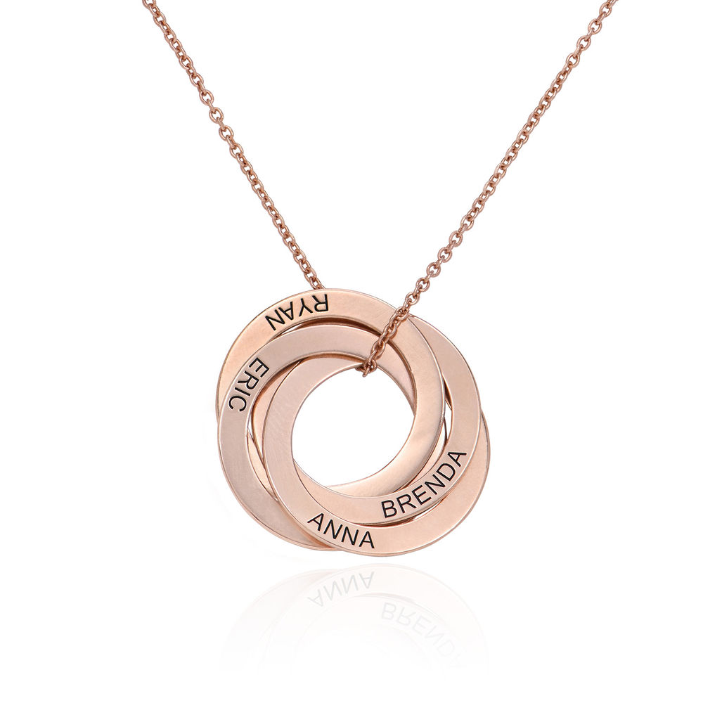 Collar de anillo ruso con cuarto anillos en plata 925 chapado en oro rosa 18k