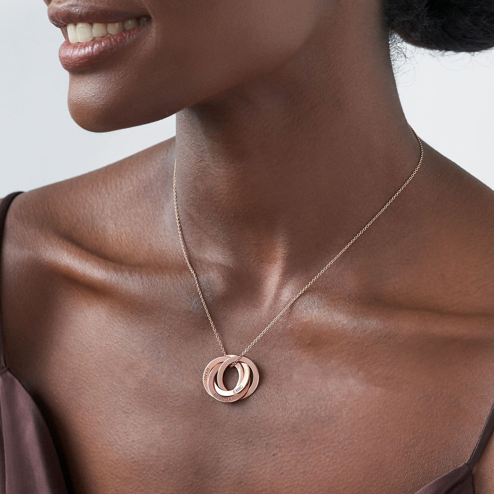 Collar de anillo ruso con cuarto anillos en plata 925 chapado en oro rosa 18k - 2