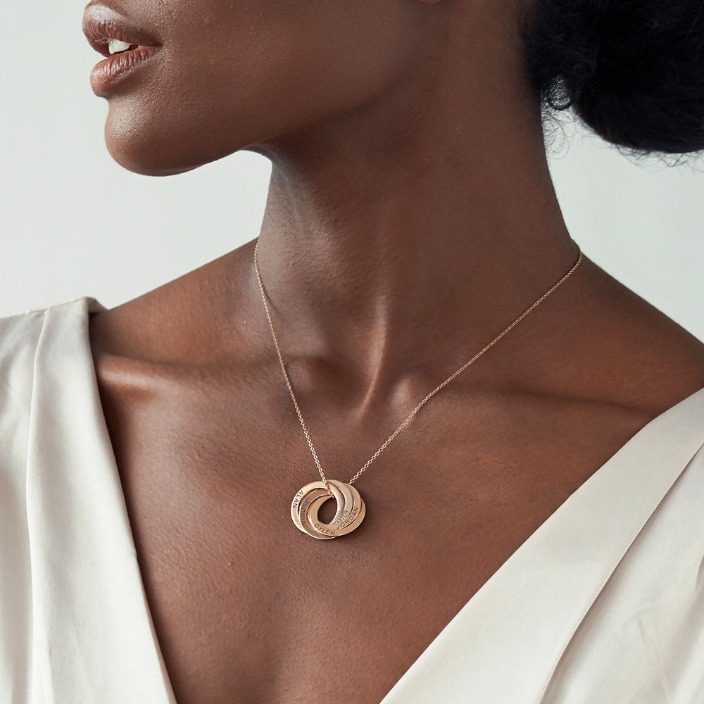 Collar de anillo ruso con cinco anillos en plata 925 chapado en oro rosa 18k - 2