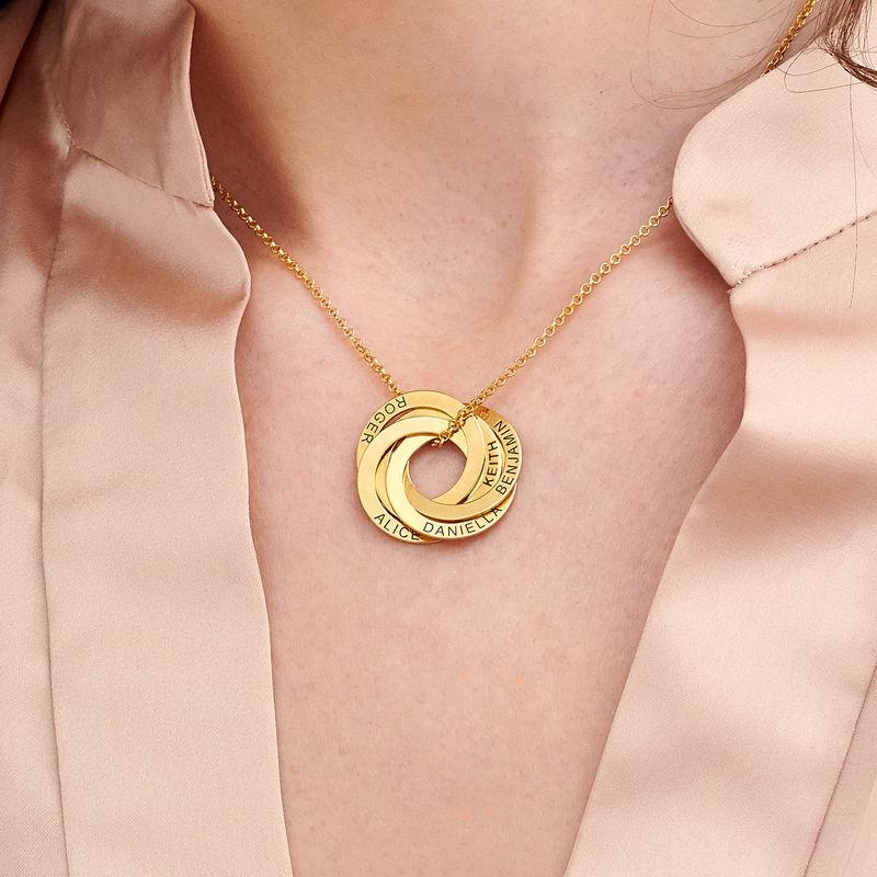 Collar de anillo ruso con cinco anillos en plata 925 chapado en oro vermeil 18k - 2