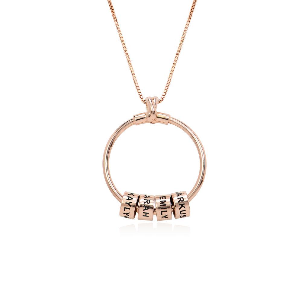 Linda Collar con colgante circular con hoja y perlas personalizadas™ Chapado en Oro Rosa 18K - 2
