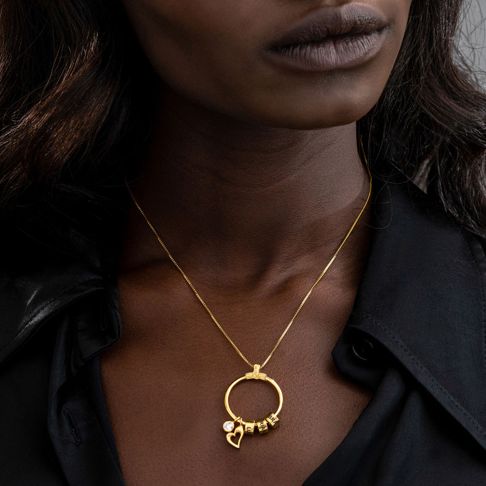 Collar Linda colgante circular en oro vermeil con diamante - 5