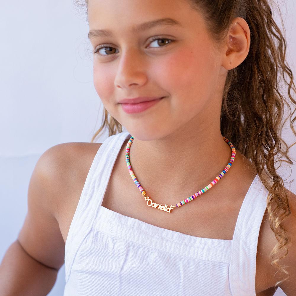 Collar de Cordón con Nombre para Niñas Chapado en Oro 18K - 3