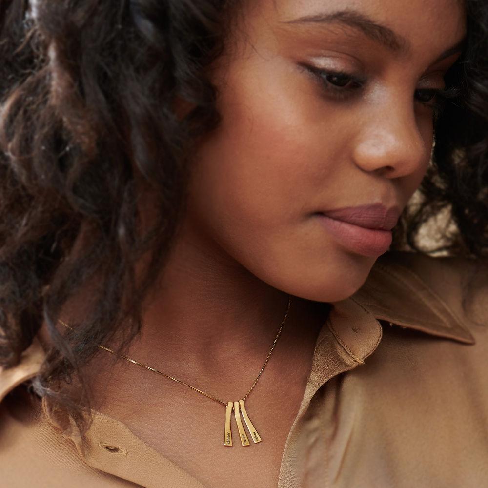 Collar xilófono de barra con nombres de niños en chapa de oro de 18k - 3