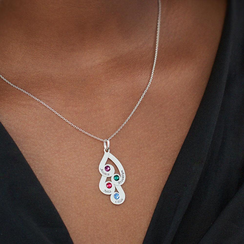 Collar colgante familiar grabado con piedras de nacimiento en plata de ley - 4
