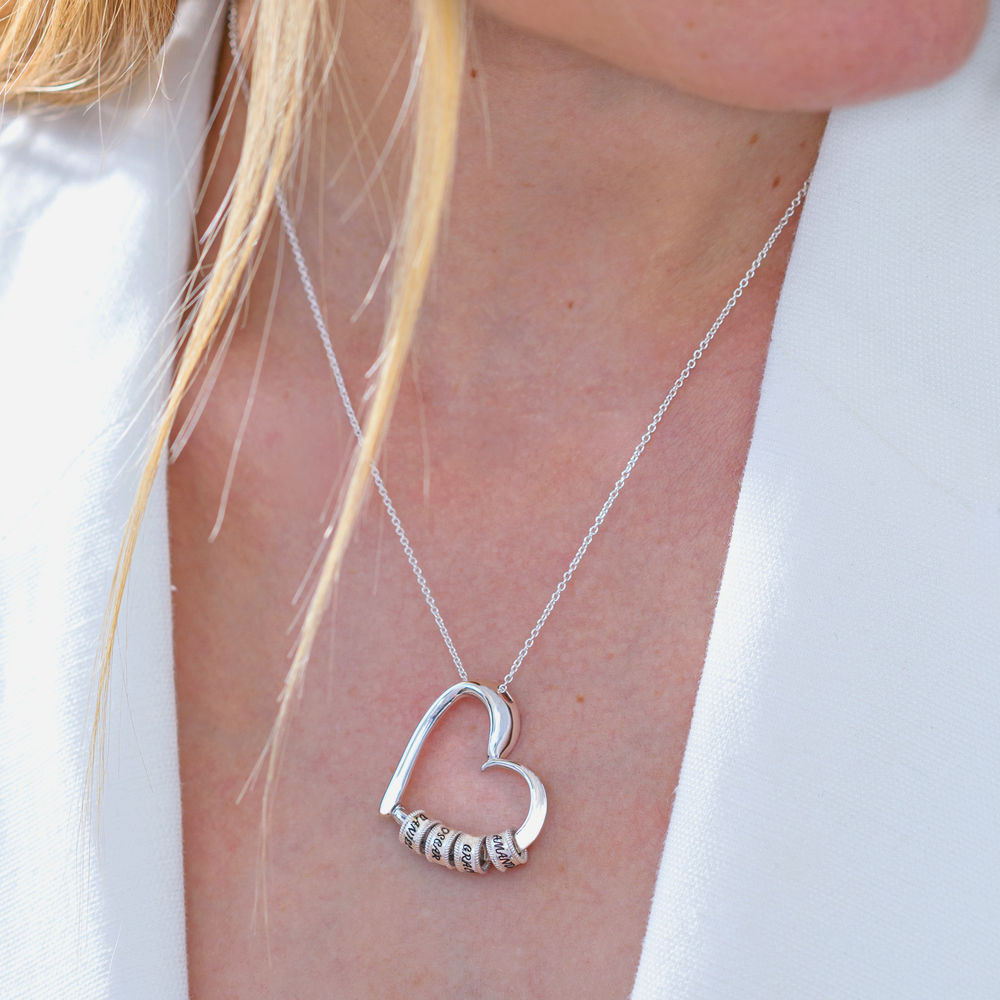 Collar con Colgante de Corazón con Perlas Grabadas en Plata de Ley - 6