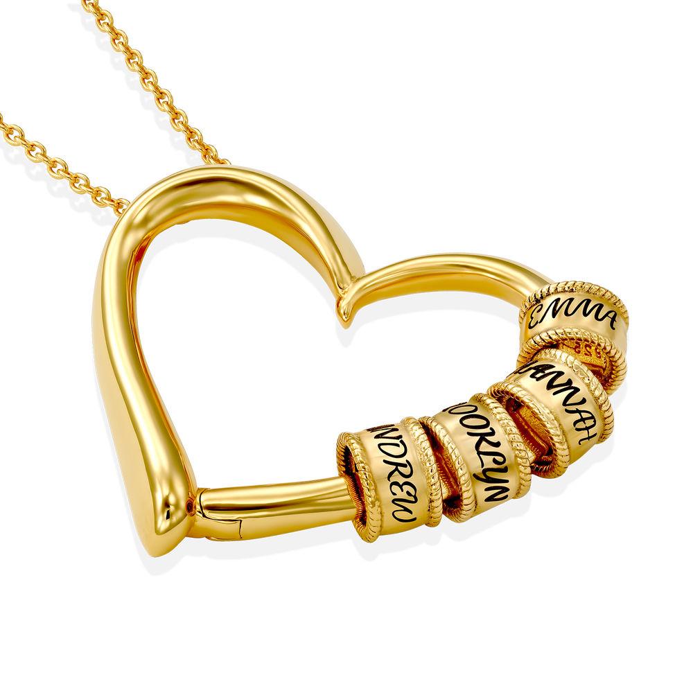 Collar con Colgante de Corazón con Perlas Grabadas Chapado en Oro 18K - 1