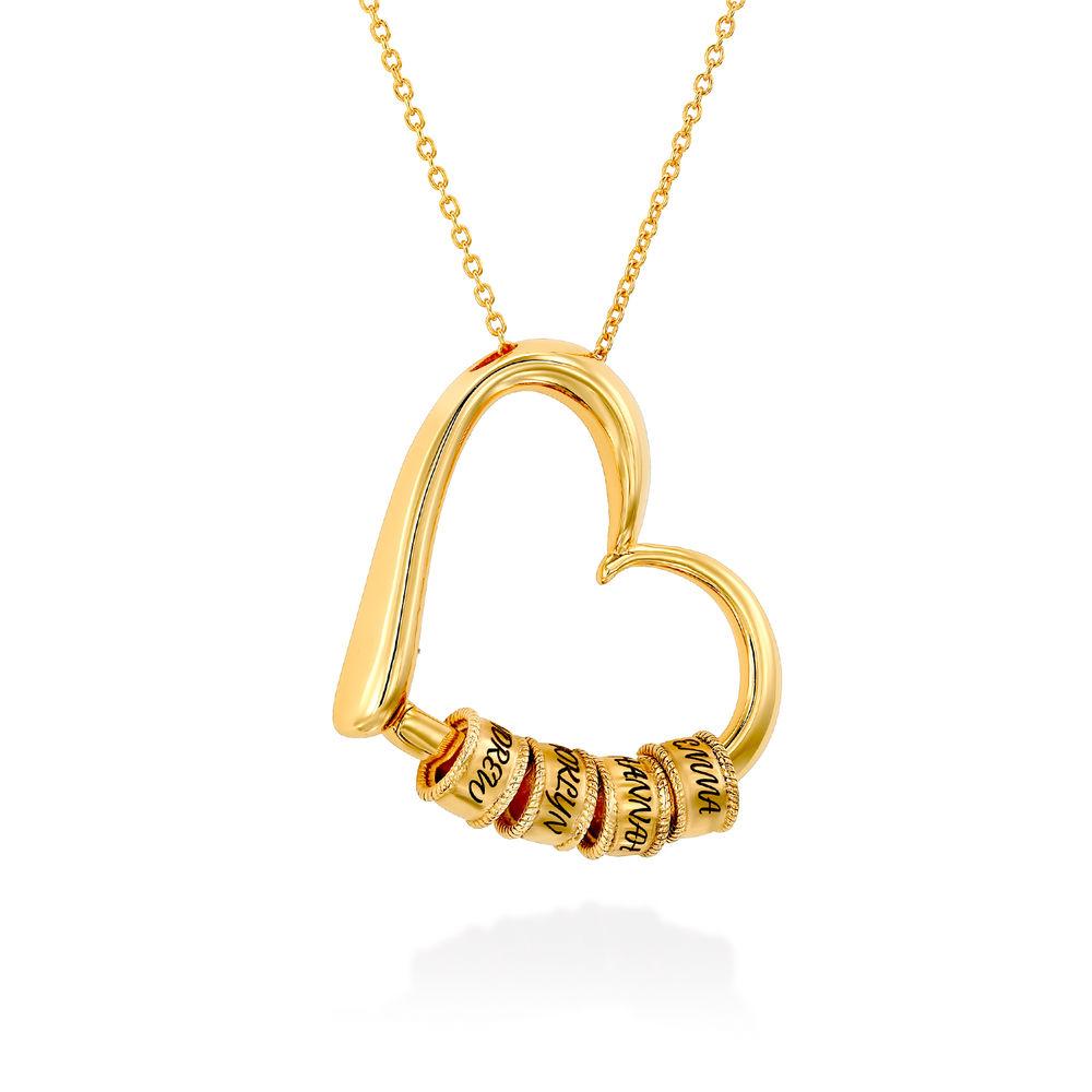 Collar con Colgante de Corazón con Perlas Grabadas Chapado en Oro 18K - 2