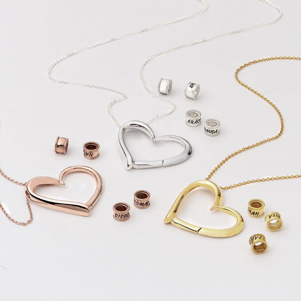 Collar con Colgante de Corazón con Perlas Grabadas Chapado en Oro 18K - 3