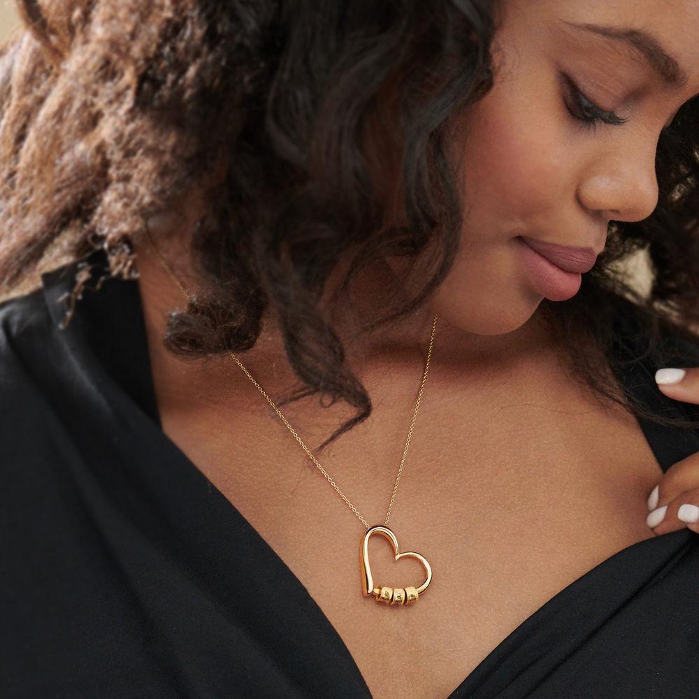 Collar con Colgante de Corazón con Perlas Grabadas Chapado en Oro 18K - 5