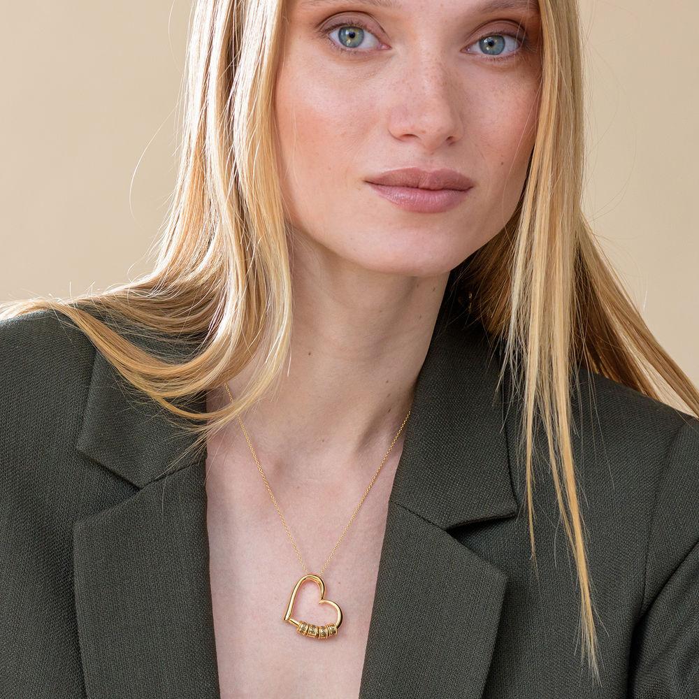 Collar con Colgante de Corazón con Perlas Grabadas en Oro Vermeil - 5
