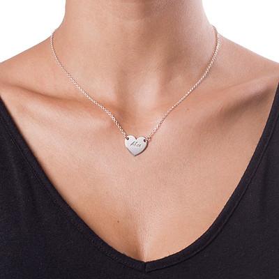 Collar Corazón de Plata Grabado - 1