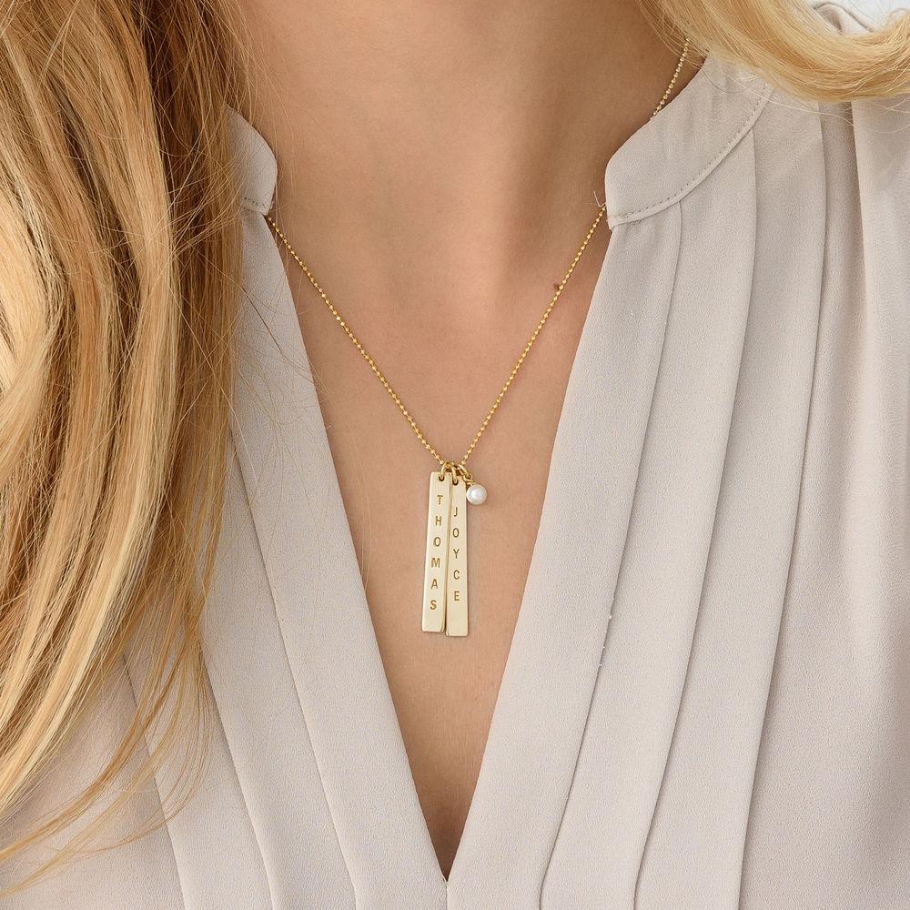Collar de Barra Vertical Grabado en Chapa de Oro de 18k - 4