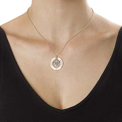 Collar Árbol de la Familia Chapado en Oro con Piedras de la Fortuna - 1