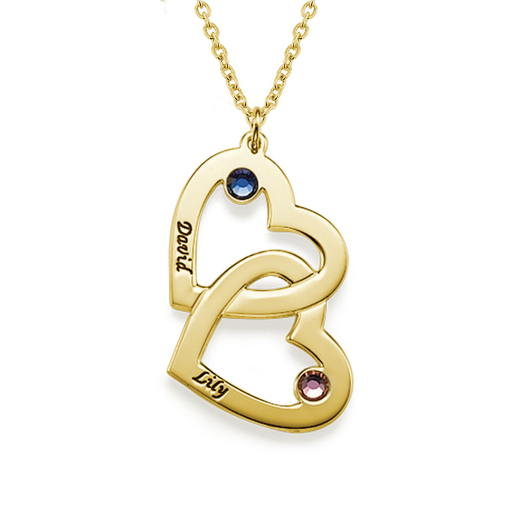 Collar de corazón en corazón con piedra de la fortuna chapado en oro 18k