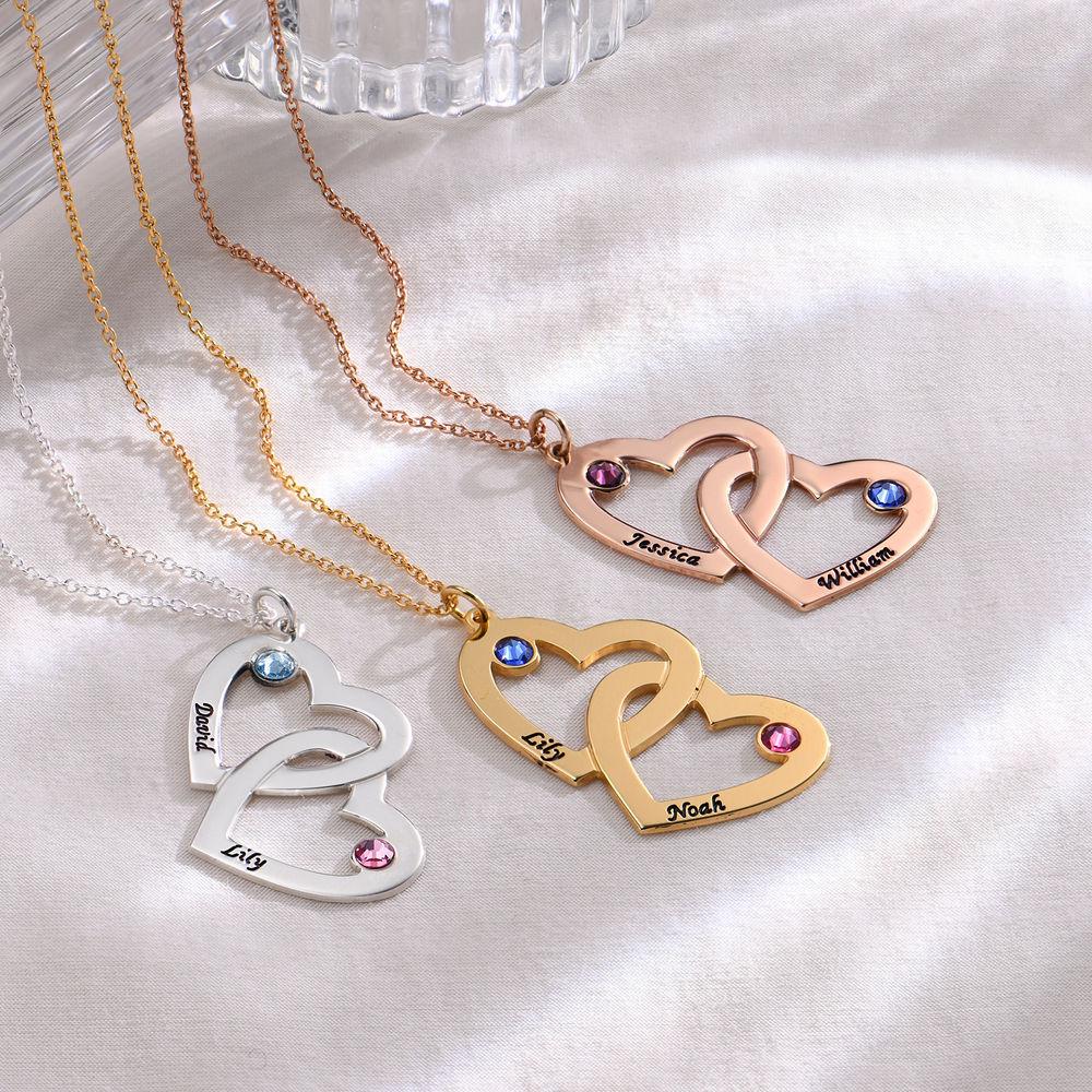 Collar de corazón en corazón con piedra de la fortuna chapado en oro 18k - 1