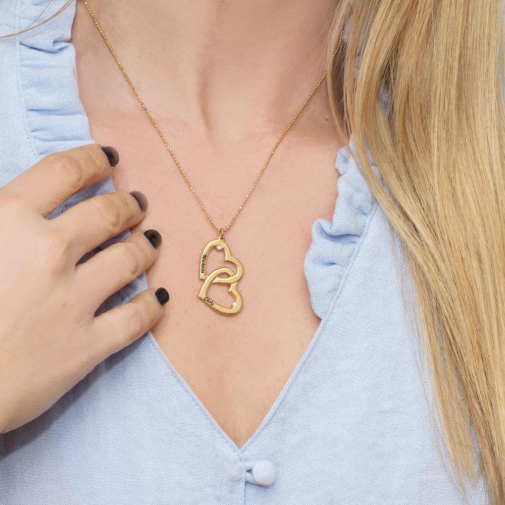 Collar  Corazón en el Corazón en Chapado de Oro 18k con diamante - 2