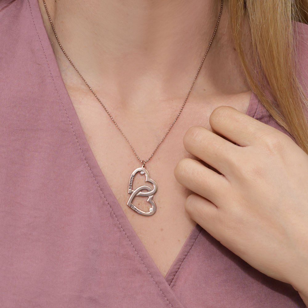 Collar  Corazón en el Corazón en Chapado en Oro Rosa 18k con diamante - 2