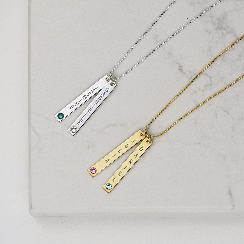Collar colgante Vertical de Plata Esterlina con cristales - 3