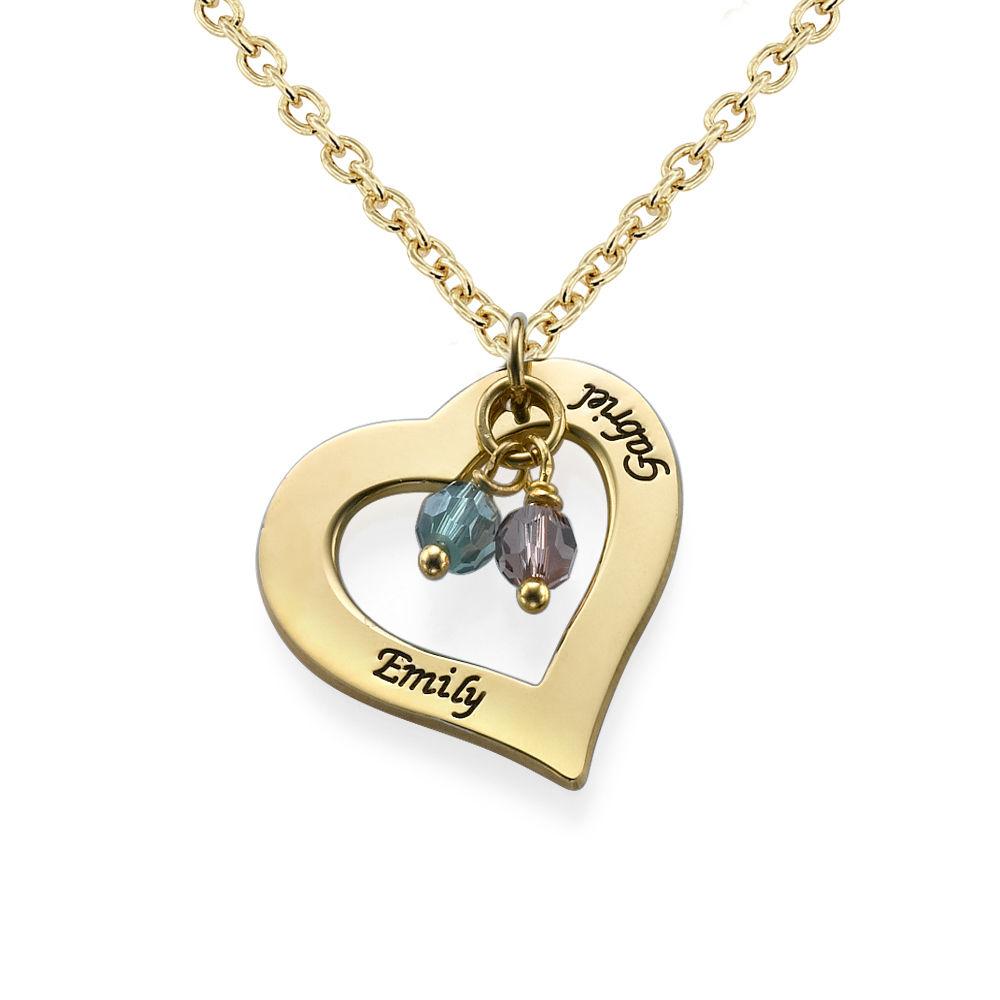 Collar de Corazón grabado chapado en oro 18k con piedras
