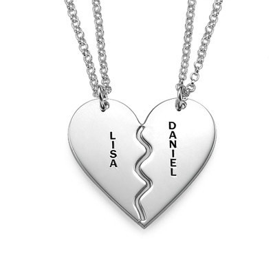 Collar Personalizado de Plata con Corazón Divisible