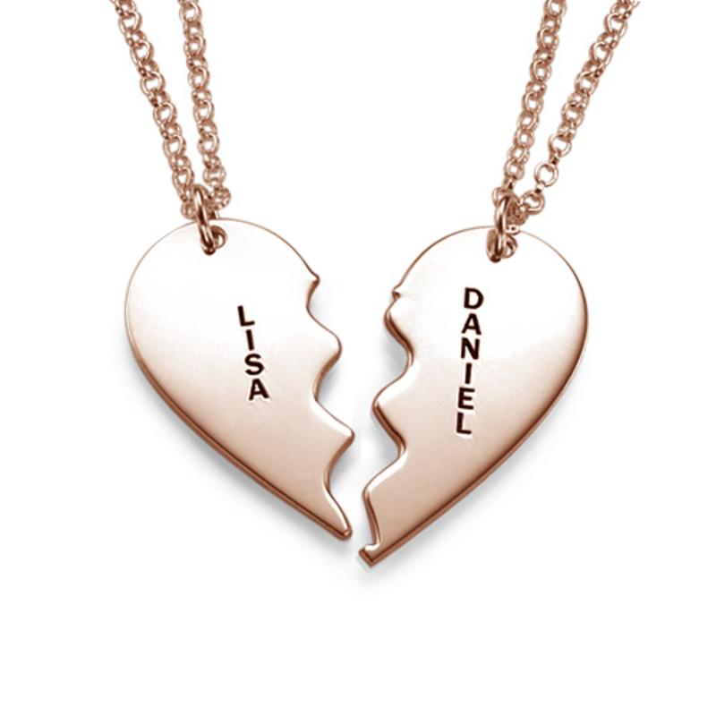 Collar Personalizado Chapado en Oro Rosa con Corazón Divisible - 1