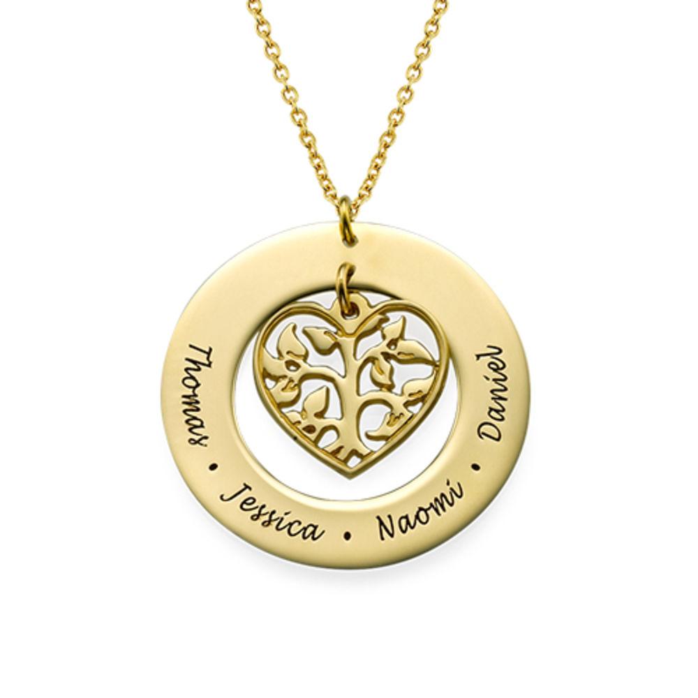 Collar Árbol de la Familia en Corazón chapado en Oro 18k