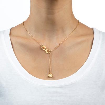 Collar Infinito en forma de Y, con inicial chapado en Oro 18k - 1