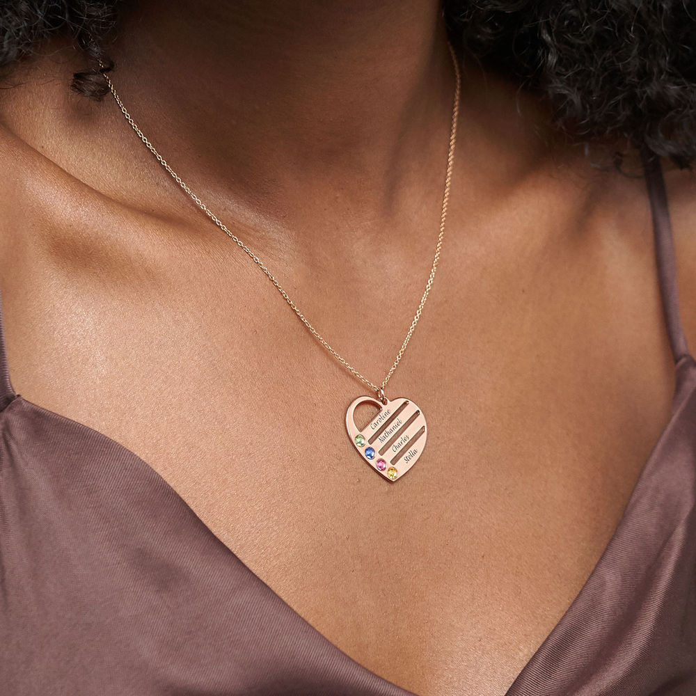 Collar de Corazón con Nombres y Piedras chapado en Oro Rosa 18k - 3