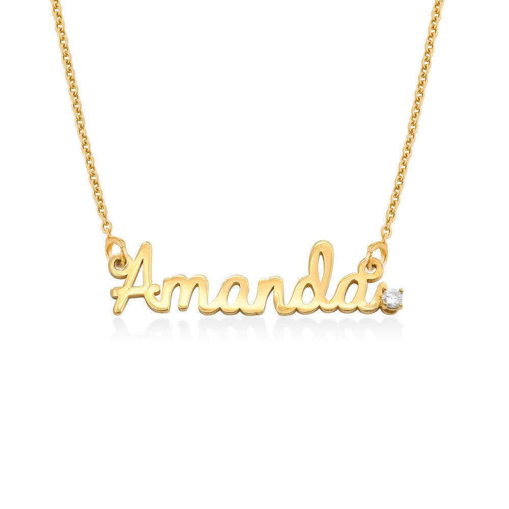 Collar con nombre cursivo en chapa de oro 18k con diamante