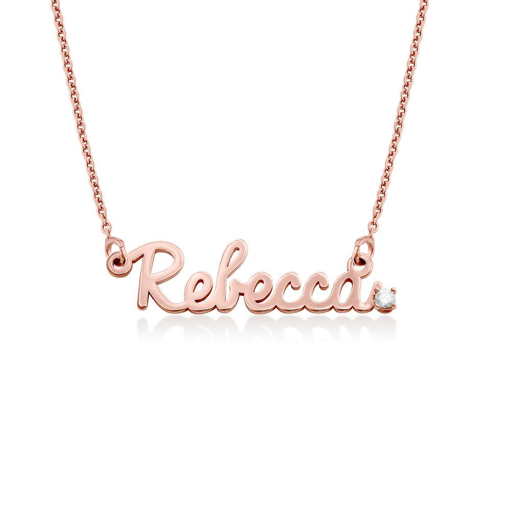 Collar con nombre en cursiva en plata chapada en oro rosa 18K con diamante