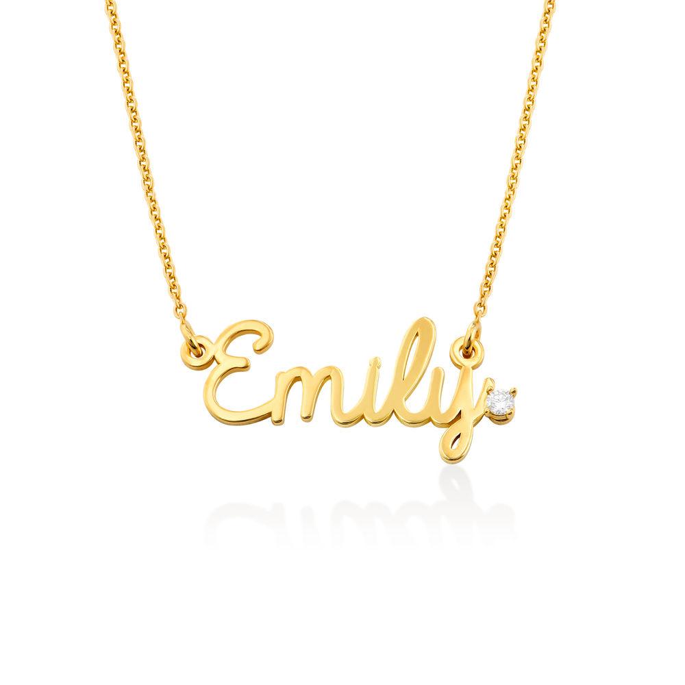 Collar con nombre en cursiva en plata chapada en oro vermeil 18K con diamante