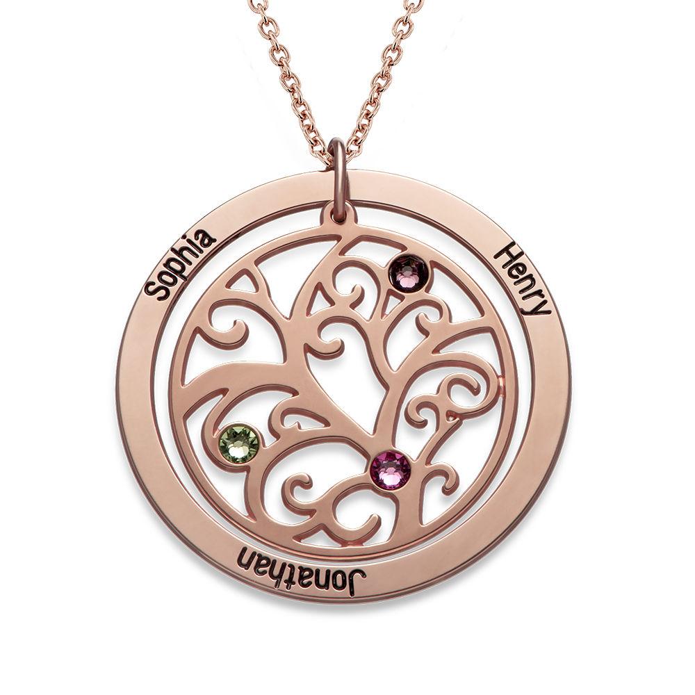 Collar de Arbol de la Familia con Piedras de Nacimiento con Chapa de Oro Rosa
