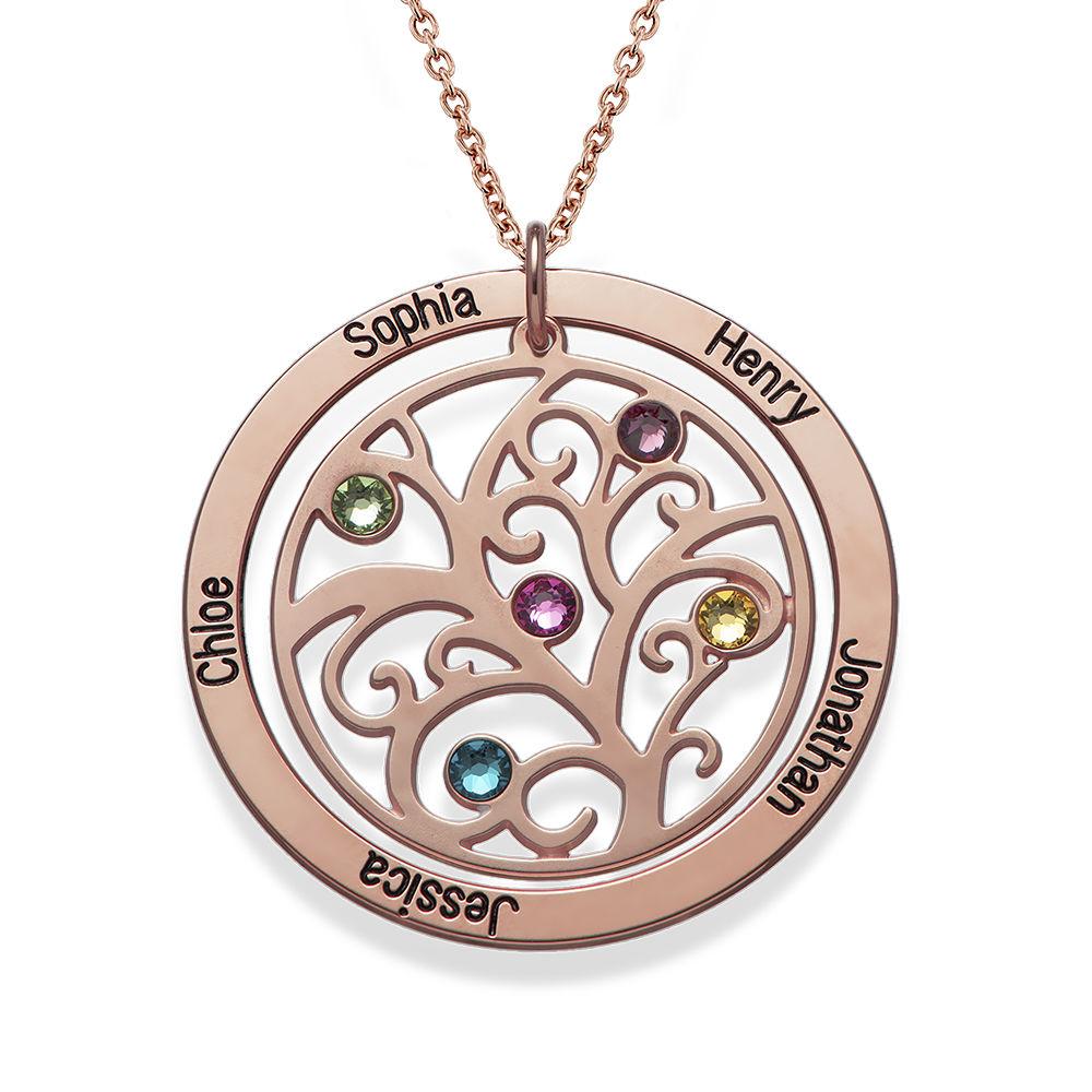 Collar de Arbol de la Familia con Piedras de Nacimiento con Chapa de Oro Rosa - 1