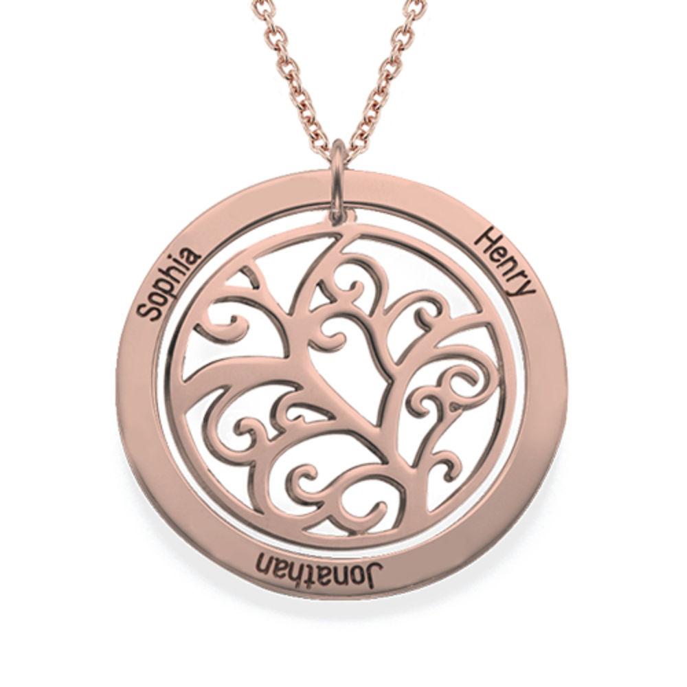 Collar de Arbol de la Familia con Piedras de Nacimiento con Chapa de Oro Rosa - 2