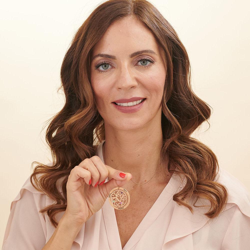 Collar de Arbol de la Familia con Piedras de Nacimiento con Chapa de Oro Rosa - 4
