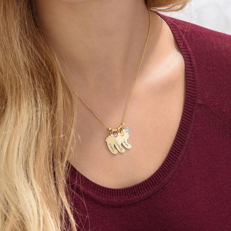 Collar de piecitos de  del bebé chapado en oro - 5