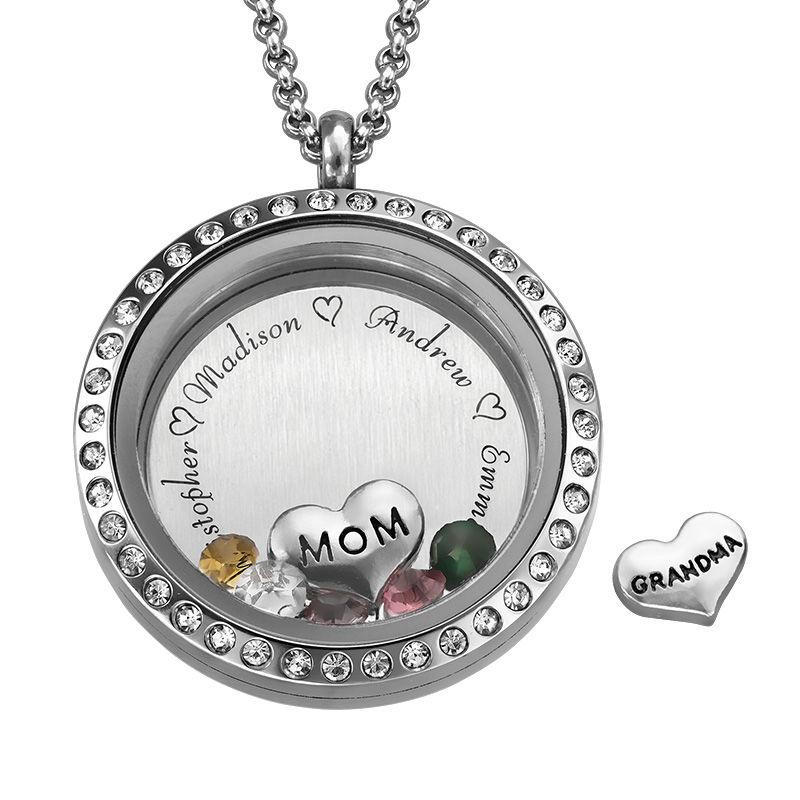 Medallón grabado con charms para Mamá o Abuela