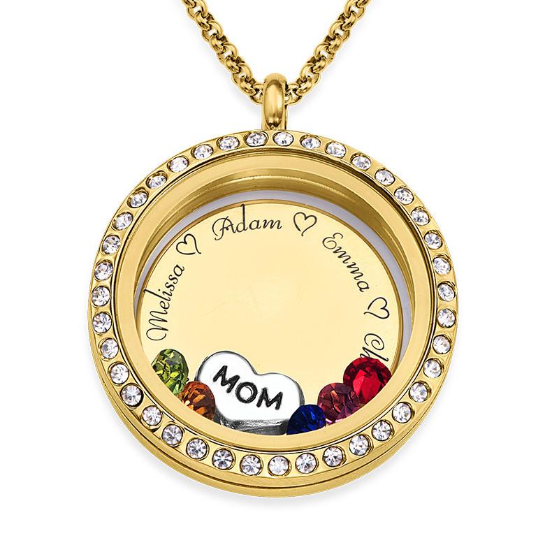Medallón Grabado con Charms para Mamá o Abuela Chapado en Oro