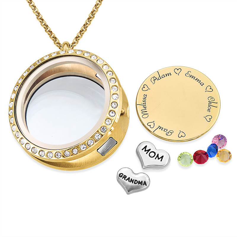 Medallón Grabado con Charms para Mamá o Abuela Chapado en Oro - 1