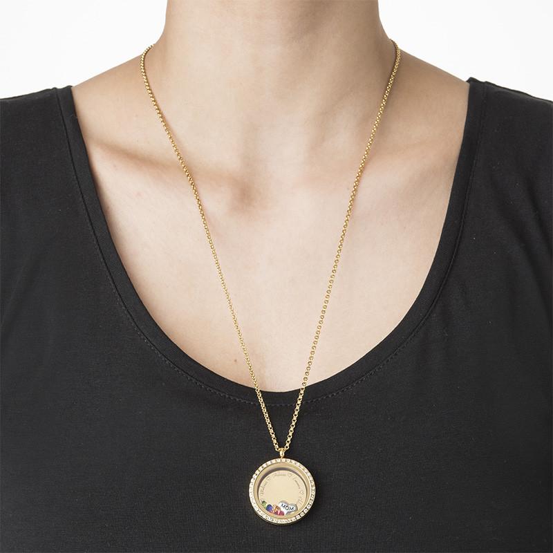 Medallón Grabado con Charms para Mamá o Abuela Chapado en Oro - 2