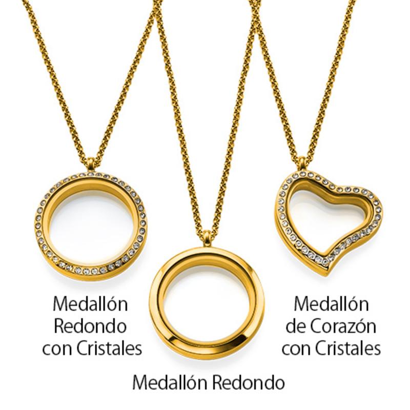 Medallón Grabado con Charms para Mamá o Abuela Chapado en Oro - 3