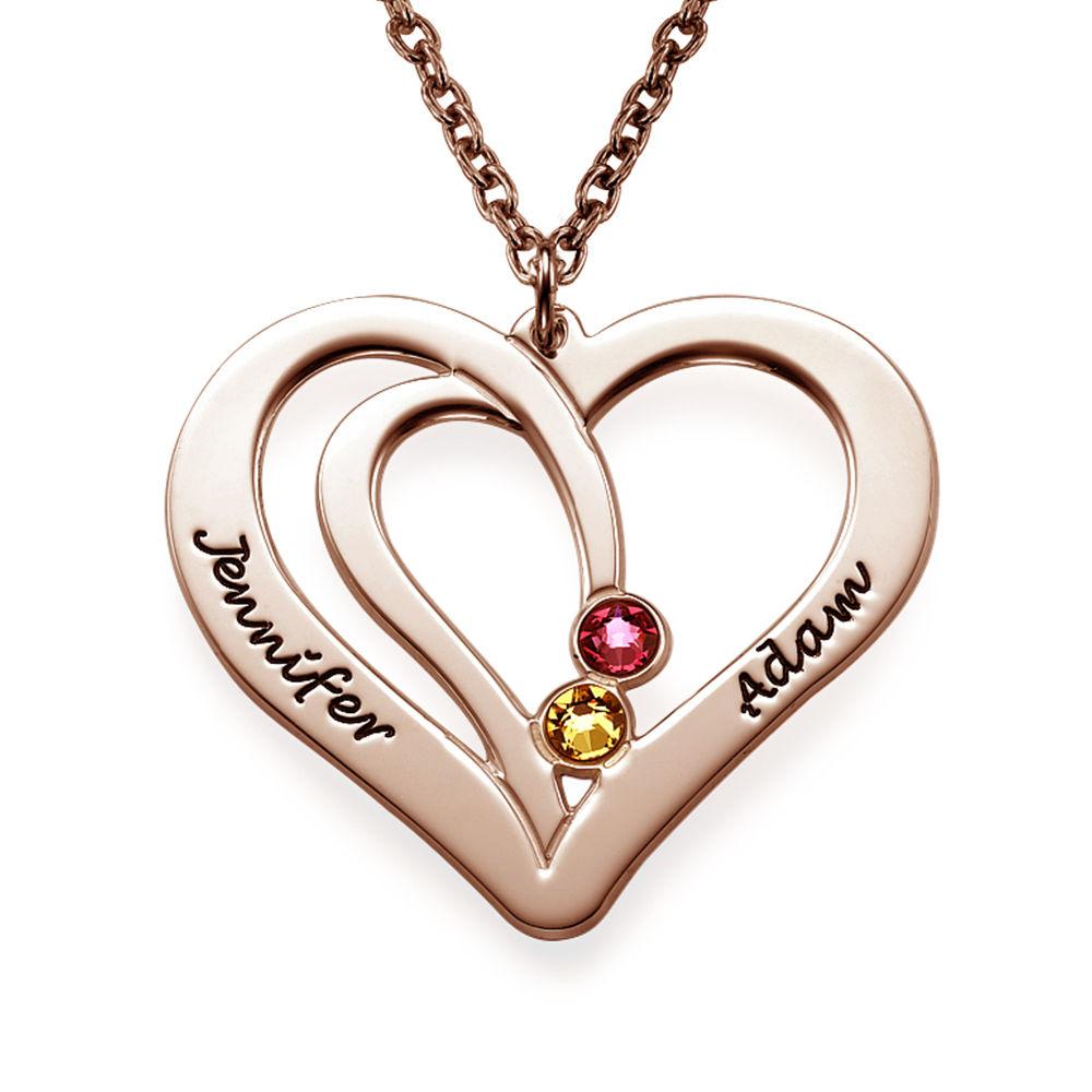 Collar Grabado con Piedras de Nacimiento para Parejas - Chapado en oro rosa