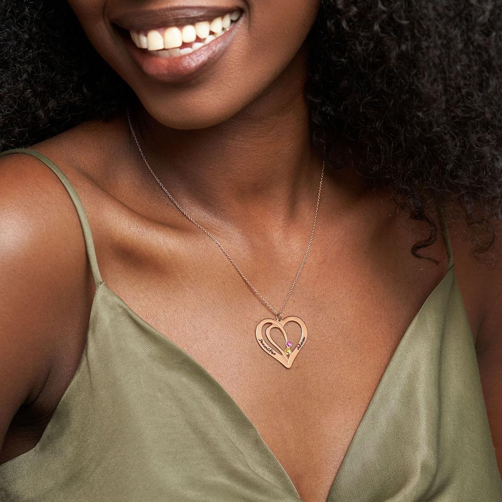 Collar Grabado con Piedras de Nacimiento para Parejas - Chapado en oro rosa - 2