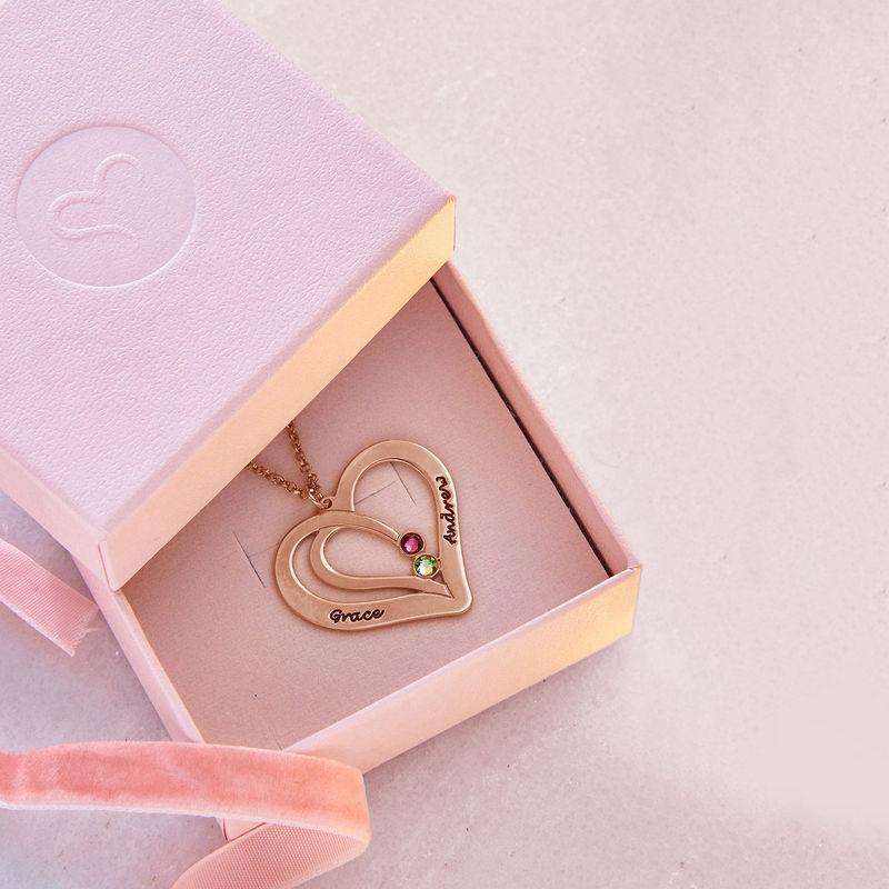 Collar Grabado con Piedras de Nacimiento para Parejas - Chapado en oro rosa - 5