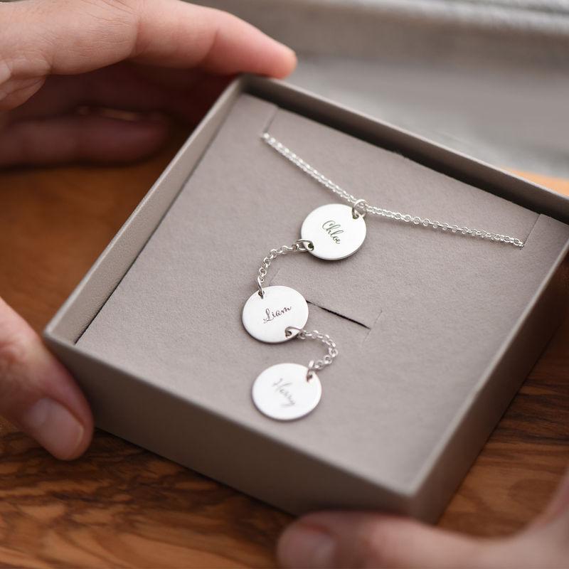Collar personalizado en forma de Y en plata de ley con Discos - 4