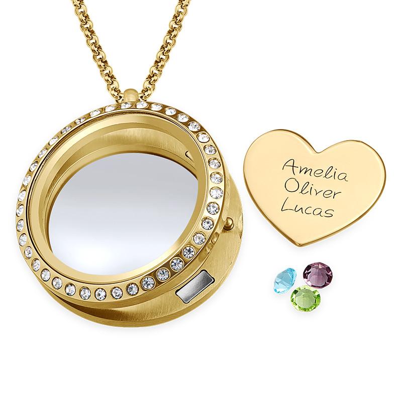 Medallón Flotante Amor de Madre chapado en oro - 1