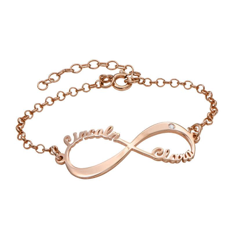 Pulsera Infinito con nombre y diamante chapada en oro rosa
